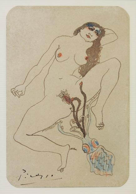 Dibujo erótico Mujer y pulpo - Pablo Picasso