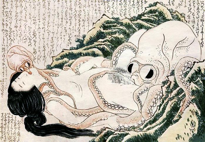 El sueño de la mujer del pescador - Hokusai