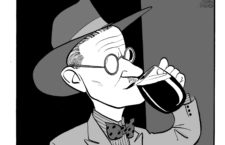 Caricature of James Joyce drinking beer. Irish novelist, born 2 February 1882, died 13 January 1941.