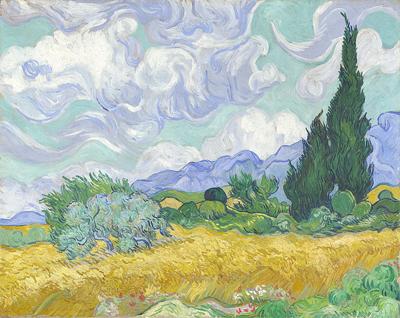 Campo de trigo con ciprés