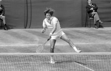 Jimmy Connors in action against Ken Rosewall. Connors went on to claim the trophy, beating Rosewall 6-1 6-1 6-4