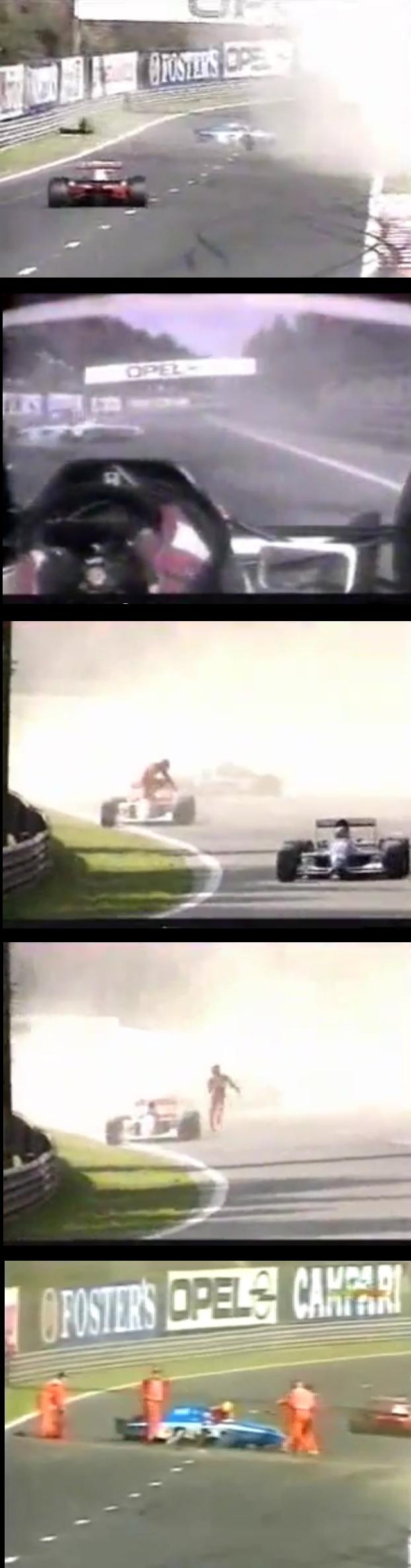 Senna socorriendo a Comas tras su accidente.