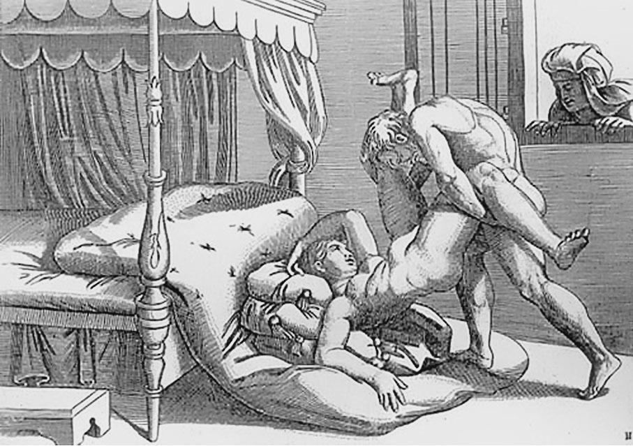 Grabado erótico de Gulio Romano . De la serie de 16 posturas