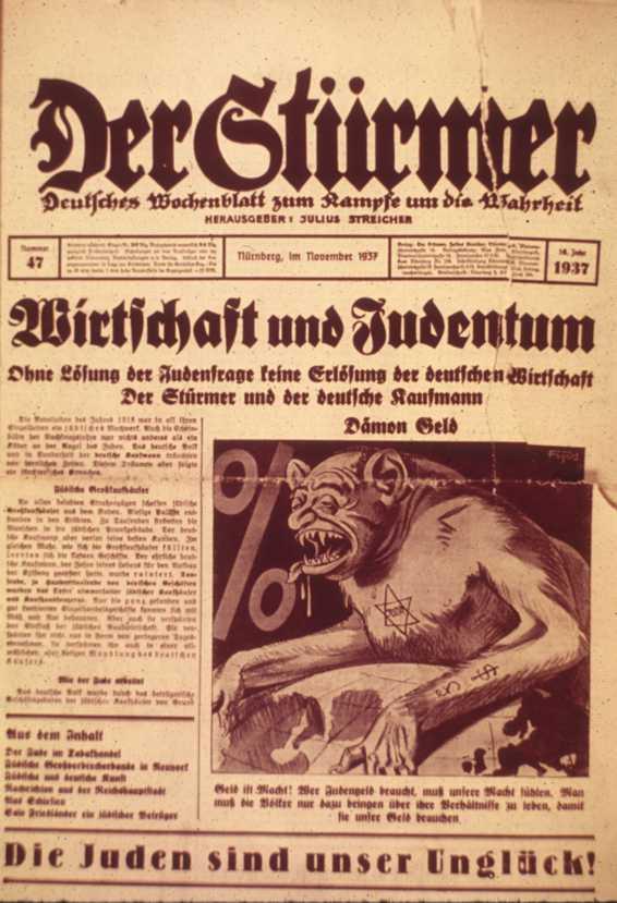 Portada del Der Stürmer representando a un judío con aspecto de monstruo