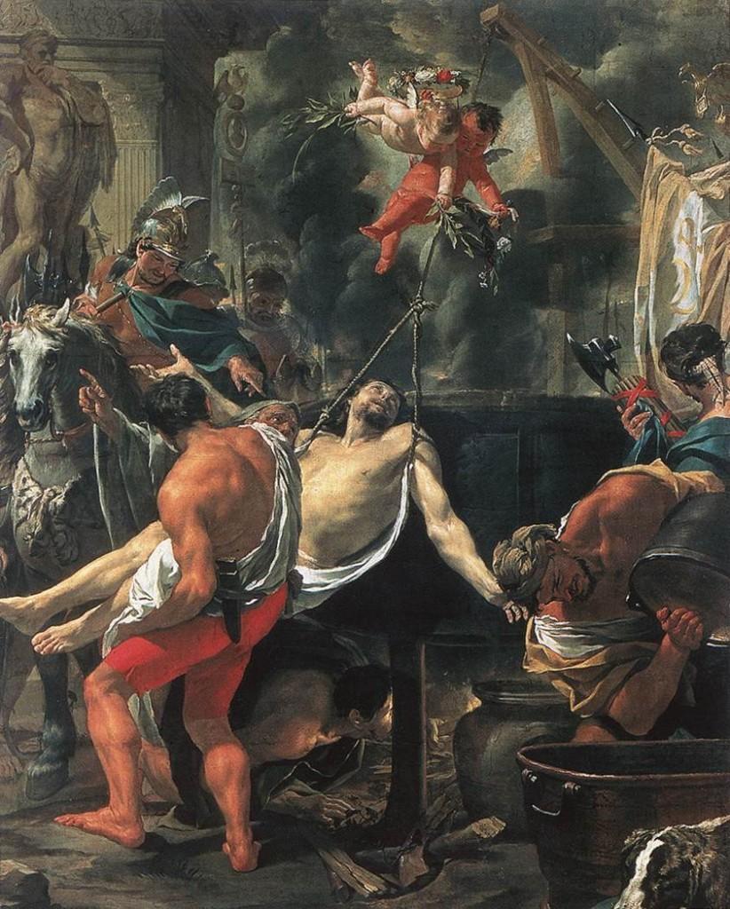 Aquí lo vemos siendo introducido en la cazuela Martirio de Juan Evangelista en la Puerta Latina Charles le Brun