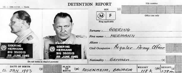 Ficha de detención de Hermann Goering Mariscal del Reich y sucesor del Führer