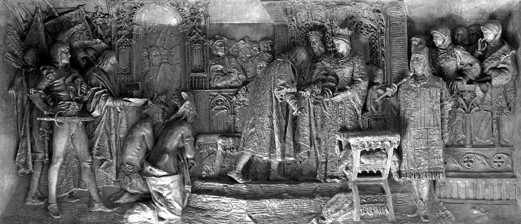 Presentación de Cristóbal Colón a los Reyes Católicos en el Salón del Tinelio en Barcelona.