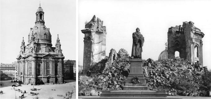 La Iglesia de Nuestra Señora en Dresde antes de la guerra... y después