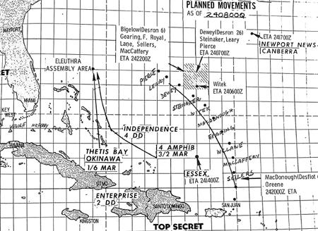 Diagrama original usado por la armada estadounidense para organizar el bloqueo.