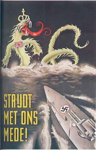 ¡Combate con nosotros!, cartel que representa a Gran Bretaña como una hidra