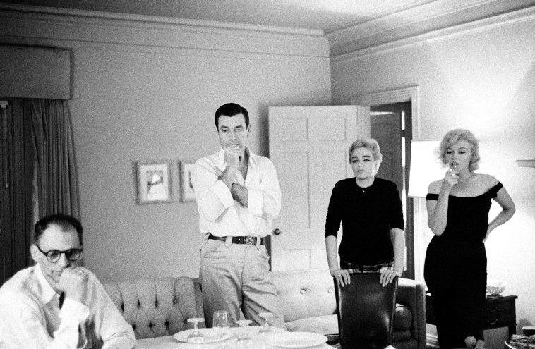 Arthur Miller, Yves Montand, Simone Signoret y Marilyn Monroe