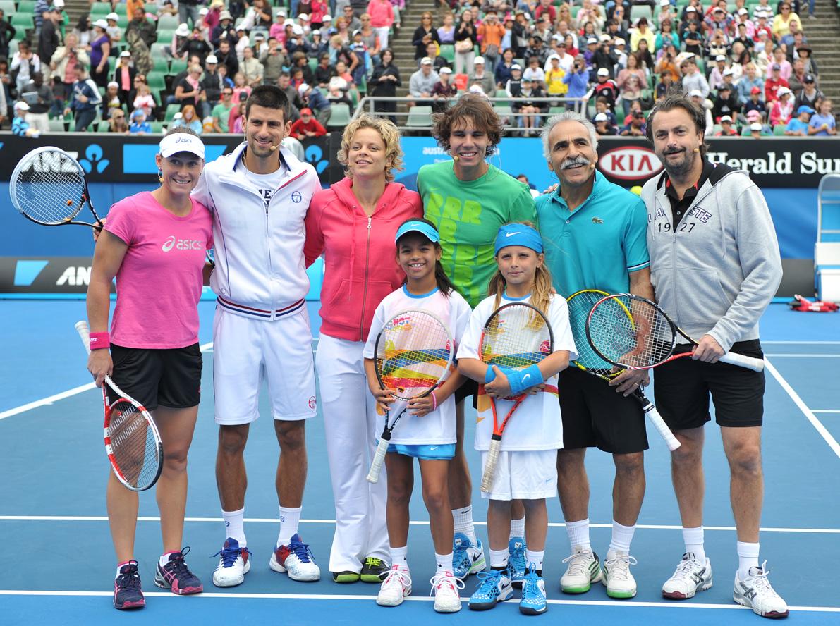 Bahrami y su amigo Leconte con Nadal, Dkojovic y Sam Stosur.