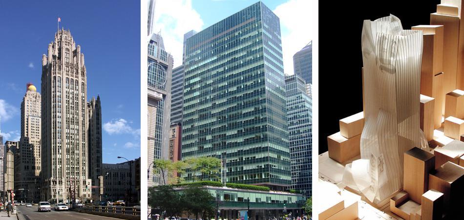 De izquierda a derecha el edificio del Chicago Tribune (1925), el Lever House (1952) y el proyecto de Gehry para el New York Times (2000).
