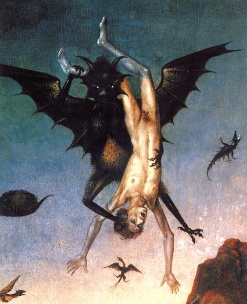 Feo demonio llevándose un alma durante el Juicio Final