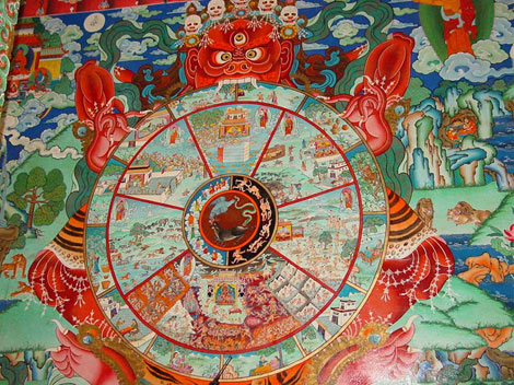 La reencarnación justifica la existencia del mal mediante el mito del karma.