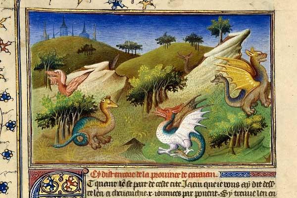 Dragones de Yunnan del Libro de las Maravillas de Marco Polo, edición francesa del año 1410-1412