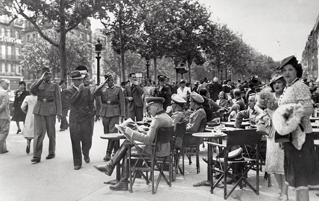 German Soldiers in a Paris Cafe