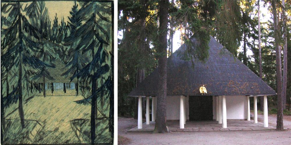 La capilla en el bosque. Dibujo original de Asplund y fachada.