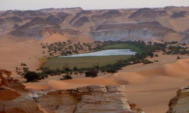 Un oasis lacustre actual en mitad del Sahara, que ilustra cómo pudo ser aquel hábitat durante los cuatro milenios de lluvias.
