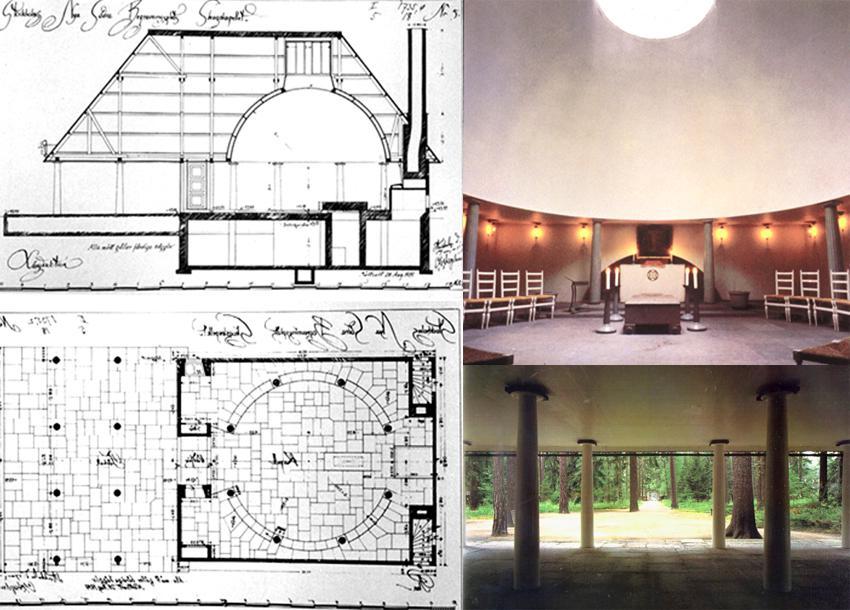 Planta y sección, porche e interior de la Capilla del Bosque.