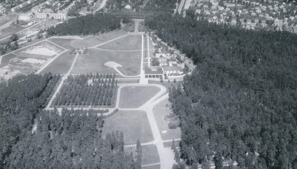Vista aérea del cementerio en 1946.