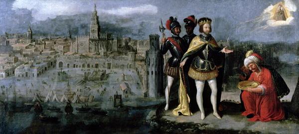 iToma de Sevilla por Fernando III en 1248 - Saqqaf (Axataf) le hace entrega de las llaves (Francisco Pacheco, s. XVII).