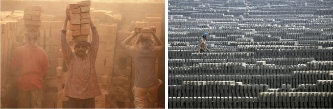 Imágenes de la fábrica de ladrillos de Ashulia.
