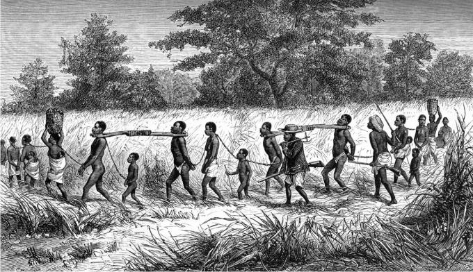 Indígenas capturados para ser vendidos como esclavos.
