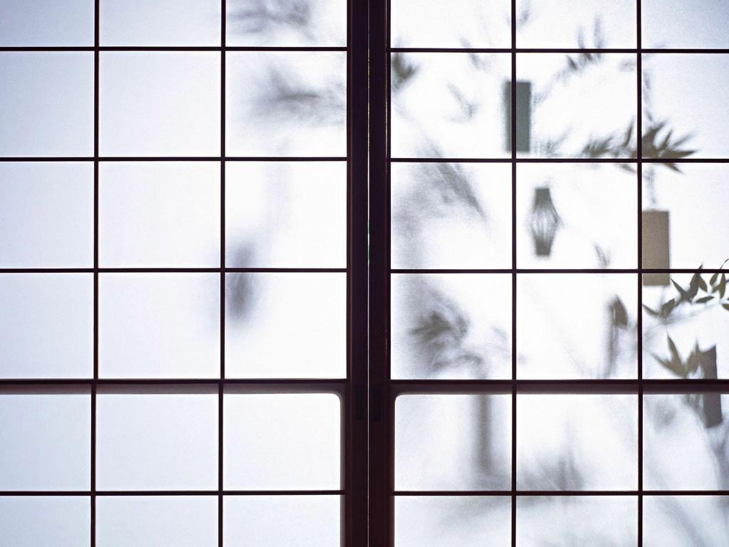 La fina lámina de papel de arroz en los shoji hace que a veces,  las luces y las sombras se pongan a jugar.
