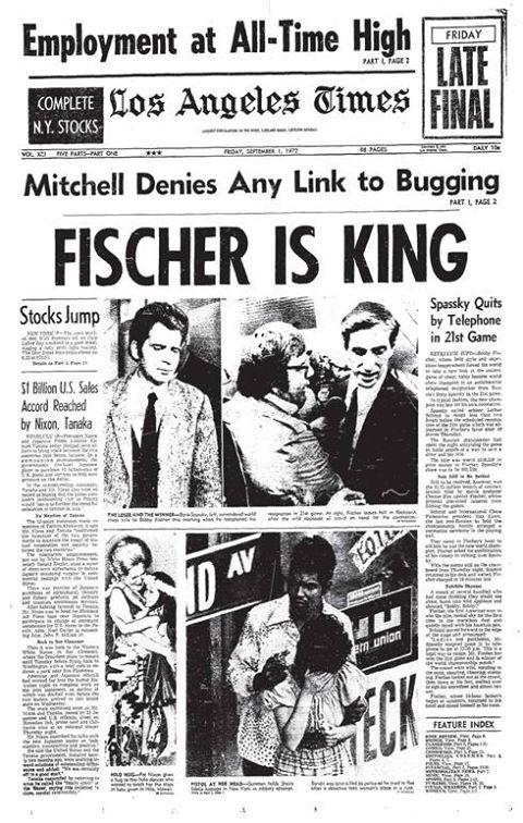 La victoria de Fischer fue noticia de portada en todo el mundo.
