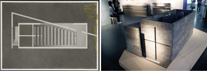 Planta del edificio principal y maqueta diseñada por Tadao Ando.