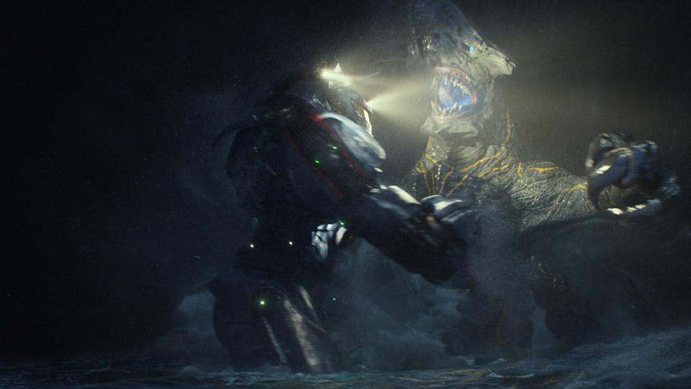 Un jaeger y un kaiju en pleno debate epistemológico. Foto cortesía de Warner Bros. Pictures y Legendary Pictures