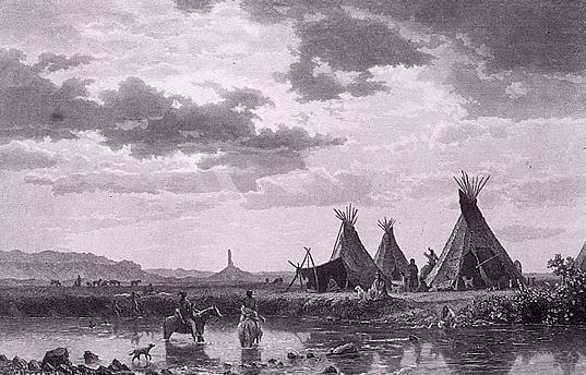 Ilustración de la época, mostrando parte de un poblado sioux oglala.