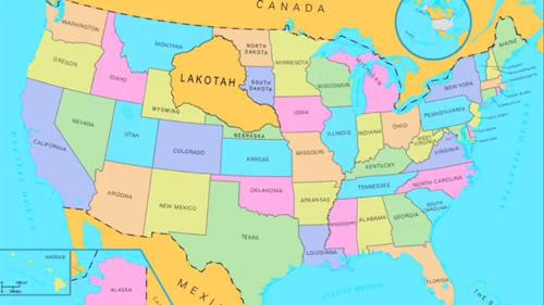 """Ubicación que tendría la Gran Nación Sioux (señalada en el mapa como """"Lakotah"""") en los actuales EE.UU."""