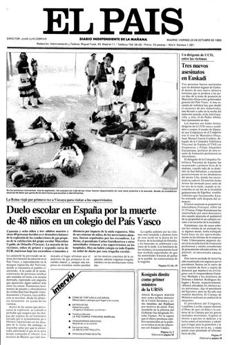 Portada del diario El País del día 24 de octubre de 1980
