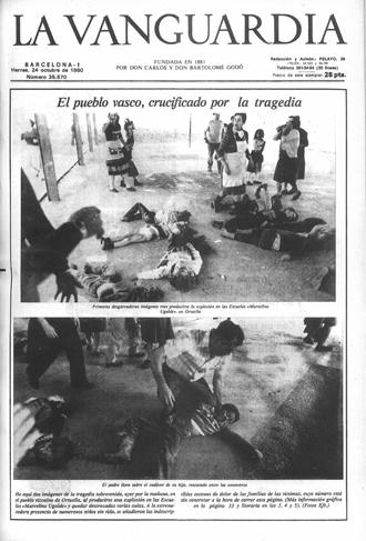 Portada del diario La Vanguardia del día 24 de octubre de 1980