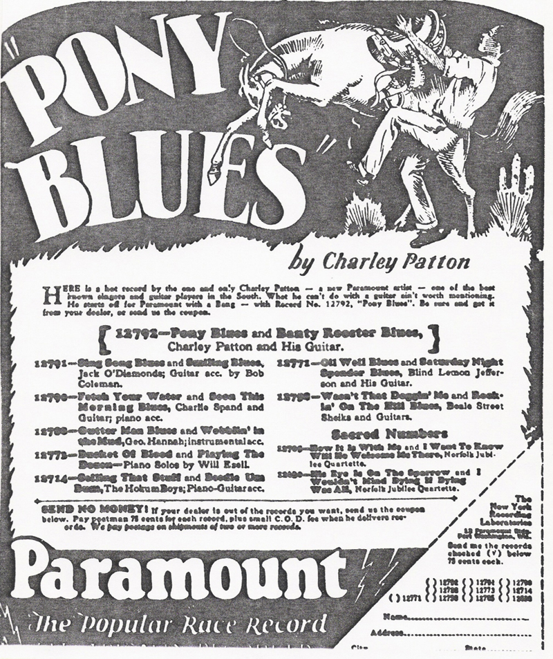 Charley patton Pony Blues advertisment - Paramount
