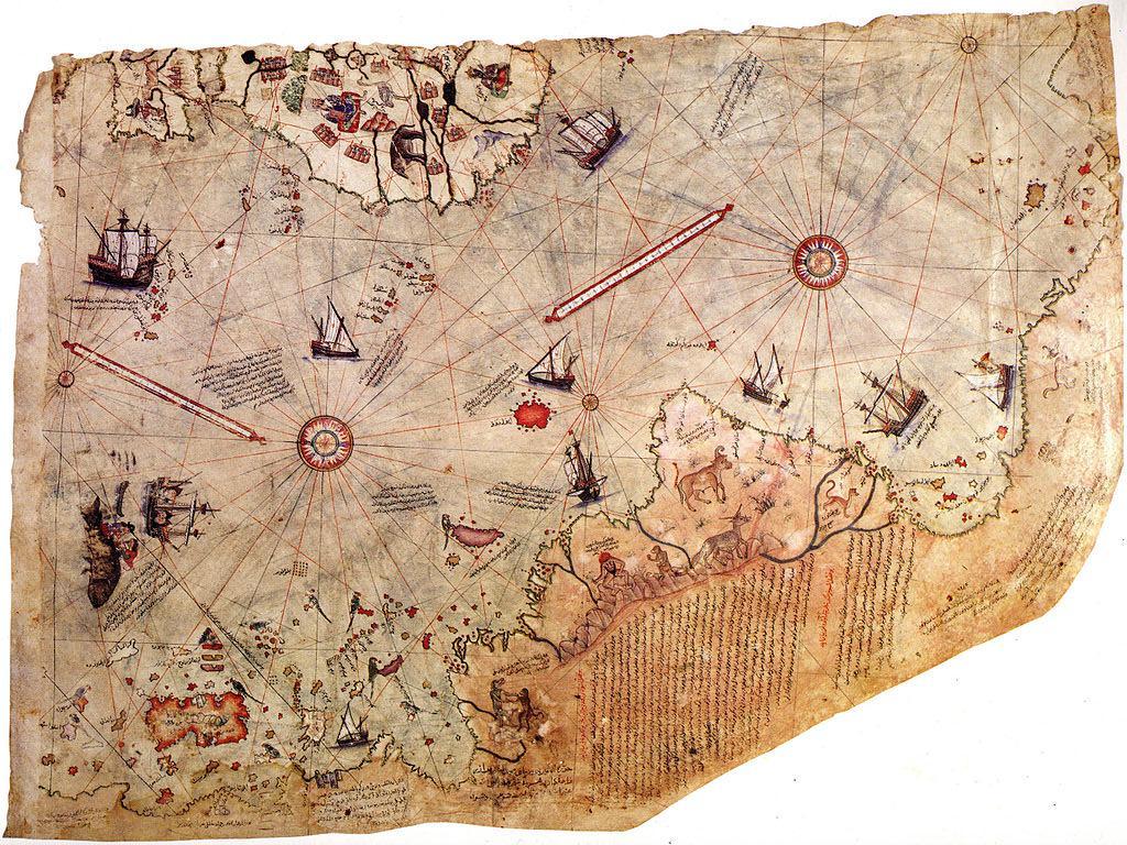 Fragmento del mapa de Piri Reis.