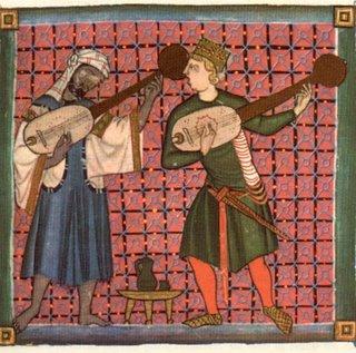 Miniatura de unos juglares en las Cantigas de Alfonso X de Castilla.