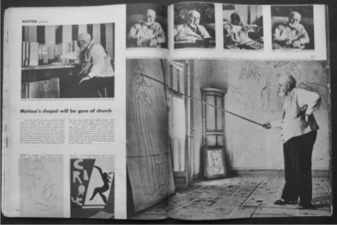 Reportaje en Life de Henri Matisse en su estudio. Montmartre, (1949).