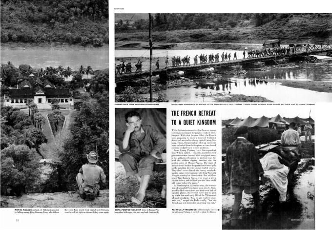Los franceses se repliegan después de la derrota de Dien Bien Phu, revista Life, número 31 de mayo de 1954. Capa había muerto una semana antes.