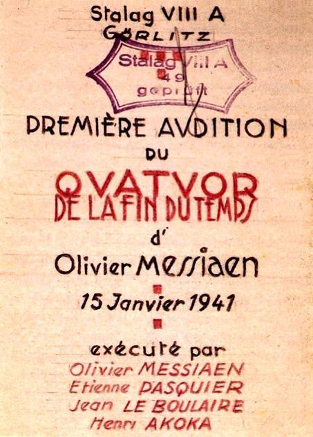Cartel para el estreno del Cuarteto para el Fin de los Tiempos (PD)