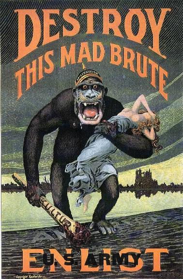 Propaganda de alistamiento estadounidense durante la Primera Guerra Mundial. El enemigo es una bestia inhumana que viene a arrebatarnos a nuestras mujeres.