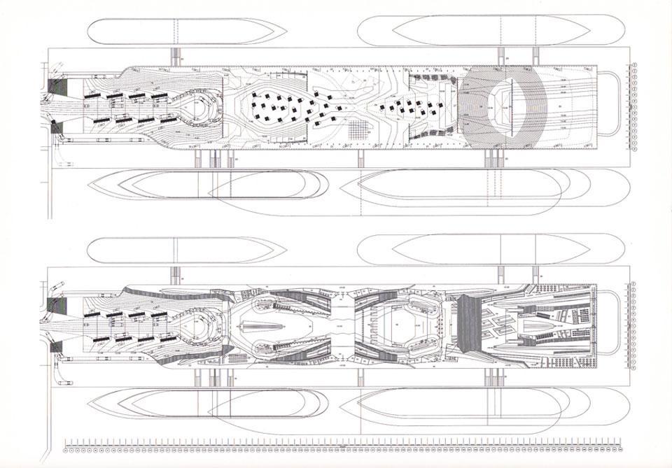 Detalle de plantas del proyecto, en donde la topografía de cubierta adquiere importante presencia.