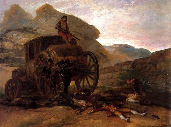 Asalto de ladrones, de Goya. Se inspiró en un caso real