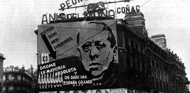 Cartel electoral con José María Gil Robles (DP)