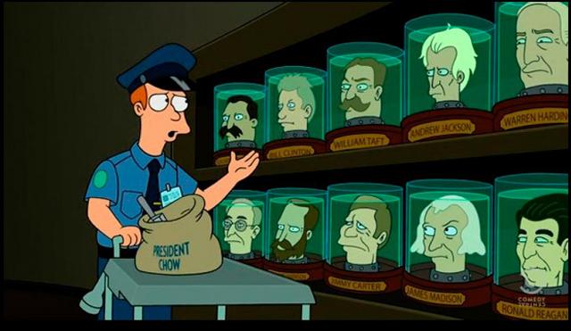 Las famosas cabezas crionizadas de la serie Futurama.