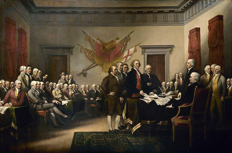 El cuadro de John Trumbull La Declaración de Independencia recoge el momento de la presentación del trabajo del Comité de los Cinco al Congreso.