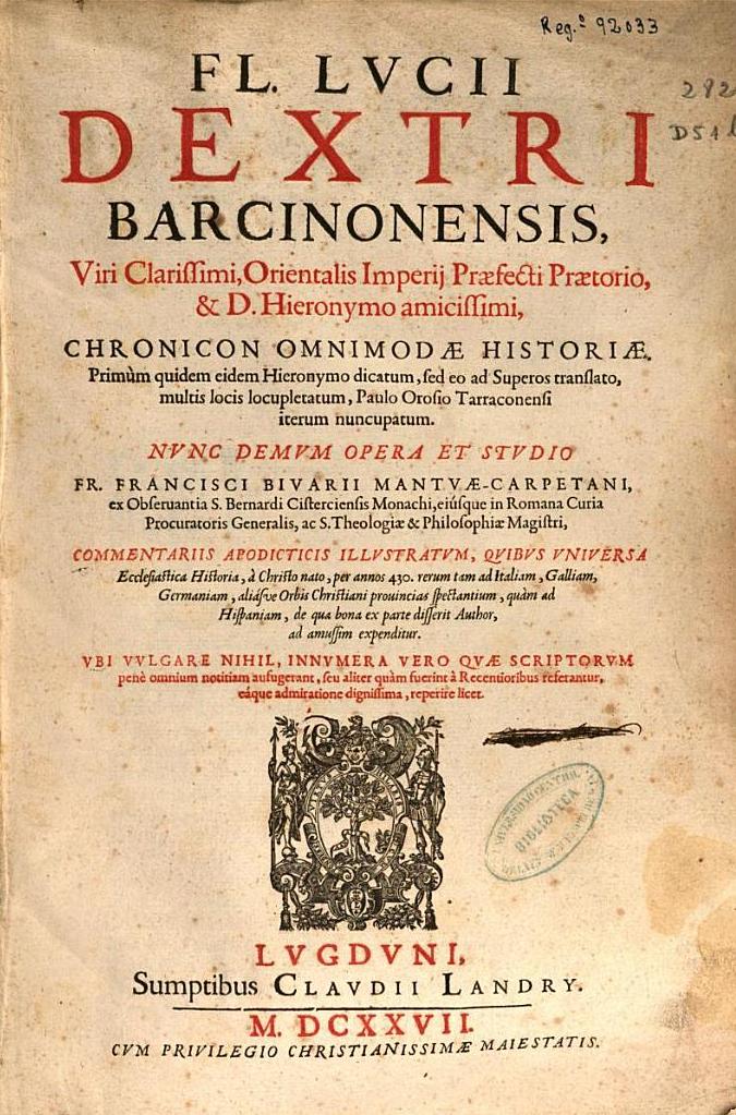 Una edición de 1627 del Chronicon Omnimodae Historiae.
