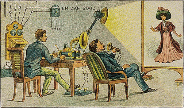 France_in_XXI_Century._Correspondance_cinema Video telephony as imagined in the year 2000, as imagined in 1910. From a French card1910